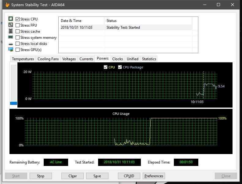 CPU 平均功耗