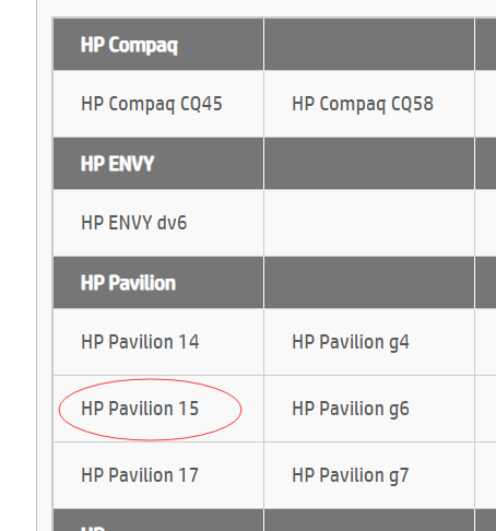 召回计划中有 HP Pavilion 15