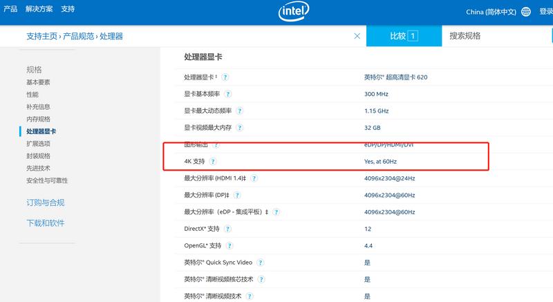 intel官方也表明支持4k 60HZ