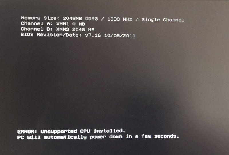 I5 2400cpu可以启动,但提示安装了不支持的CPU,过几秒就关机。