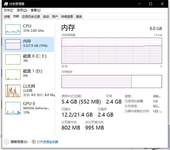 根据任务管理器显示,内存总量只有8G