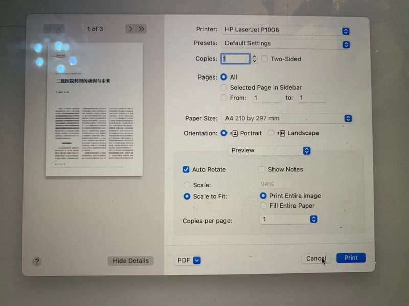 看上去是正常的打印界面,也能自动识别出1008型号